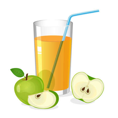 cocktail drink: Realistic glass of apple juice drink with cocktail straw. Juice with apple half and slice isolated on white. Fresh refreshment beverage. Natural sweet portion of vitamins. Vector illustration