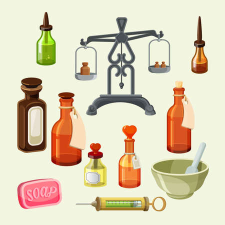 Pharmaceutical apothecary elements set. Realistic bottles for essential oils and cosmetic products, syringe, dispensing scales with drugs. Vintage jars, dropper bottles, soap and vessels. Vector