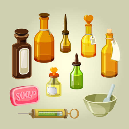 apothecary: Empty bottles, flasks, potions and drops vector set. Apothecary remedies. Reservoirs for shampoos, oils, pharmacology elixirs. Drugstore mixtures. Laboratory medicaments. Soap and syringe illustration Illustration