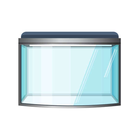 Aquarium vector isolated on white. Fish tank, front view. Vivarium with transparent sides in which water-dwelling plants or animals are kept and displayed. Terrarium. Vector illustration