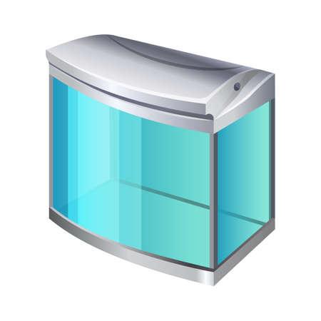 terrarium: Plastic or glass rectangular container for use as a terrarium or aquarium. 3d isometric view. Fishkeepers use aquaria to keep fish, invertebrates, amphibians, aquatic reptiles, plants. Vector