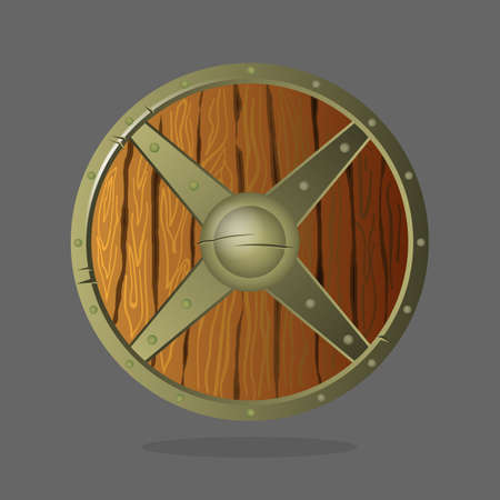 Round armor shield made of wood and metal. Wooden material relatively deep, absorbent, planking to protect soldiers from impact of spears and crossbow bolts. Vector war protective element. Add emblem.