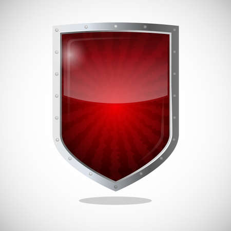 safeguard: Protection armor shield concept. Security guardianship logotype, symbol of defense, antivirus company concept. Vector cryptography icon safeguard dark red badge with lines going from center.