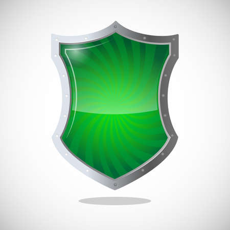 security symbol: Armour shield symbol of protection, defence, and security. Green shield with metallic frame. Antivirus concept protective logotype in chrome button. Safeguard policy defence sign vector illustration Illustration