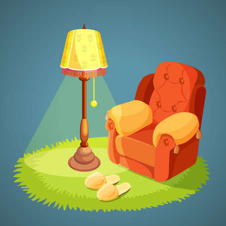 piece of furniture: Armchair with pillows, green carpet on floor, lamp shade with lights on, slippers isolated on blue. Vector illustration of comfortable place for rest in retro style. Living room pieces of furniture