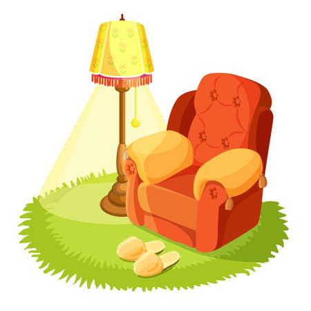 Home interior design. Cosy armchair with cushions, yellow torchere and round grass textile rug isolated on white. Home slippers on carpet. Indoors house design. Vintage furniture. Vector illustration Vettoriali