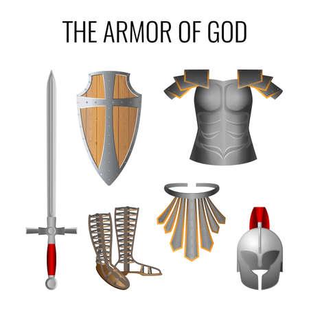Zestaw elementów zbroi Boga na białym. Długi miecz Ducha, breathpate, sandały gotowości, pas prawdy, gotowość drewniana tarcza wiary, pancerz hełm zbawienia. Wektor