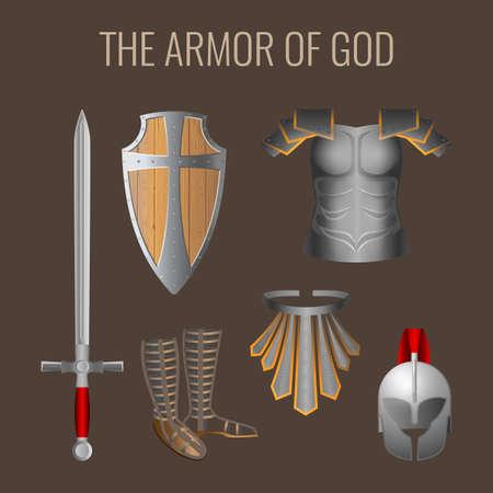 La Armadura de Dios colección de elementos. Larga espada del espíritu, disposición escudo de madera de la fe, casco de la armadura de la salvación, breathpate, sandalias de preparación, el cinturón de la verdad. ilustración vectorial