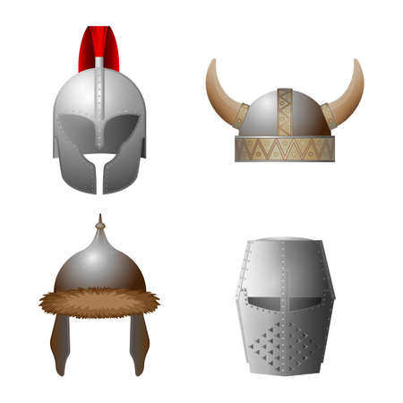 headwear: Set of medieval helmets. Viking, knight, horned, Coppergate helmet collection. Military caps of middle ages. Hats with iron elements. Headwear for knight tournament, joust. Vector illustration