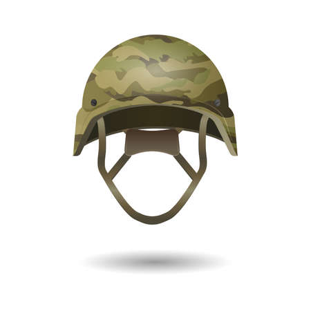Paintball military modern camouflage helmet. Army symbol of defense. Plastic toy hat in khaki color. Military camo defense headwear. Guard protective element. Safety head cover. Vector illustration