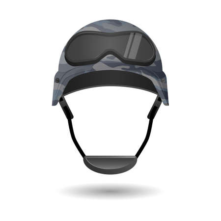 headwear: Military equipment for games. Helmet with glasses headwear element. Protective gear during conflicts. Symbol of army forces. Armor cap with goggles. Realistic part of uniform. Vector illustration Illustration