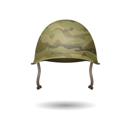 Military modern helmet with camouflage patterns. Vector illustration. Metallic army symbol of defense and protect. Protective hat. Uniform headwear isolated on white. Editable element in cartoon style