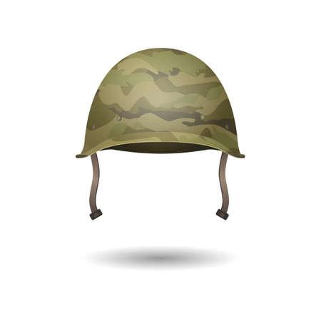 Wojskowy nowoczesny kask z wzorami kamuflażu. Ilustracji wektorowych. Metaliczny symbol armii obrony i ochrony. Kapelusz ochronny. Jednolite nakrycia głowy na białym. Element edytowalny w stylu kreskówek