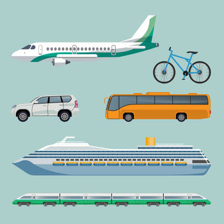 Fast transportation means set of modern transport items.
