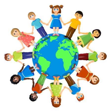niños de diferentes razas: Different children standing around earth planet. Friendship and international relationships Foto de archivo