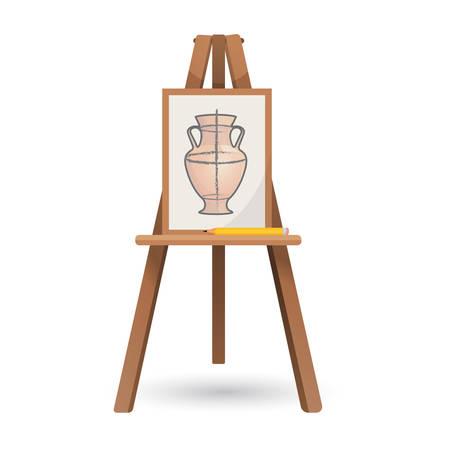 unfinished: Vector illustration of unfinished vase on isolated wooden easel Illustration