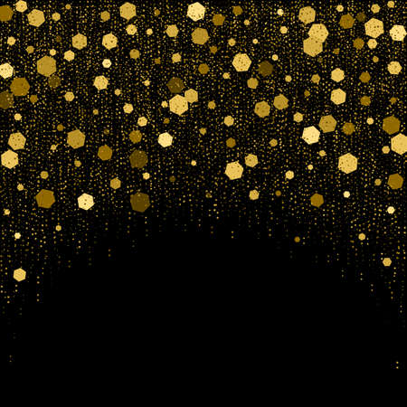 hexagone: Black background with golden glitter particles elements in hexagon shape