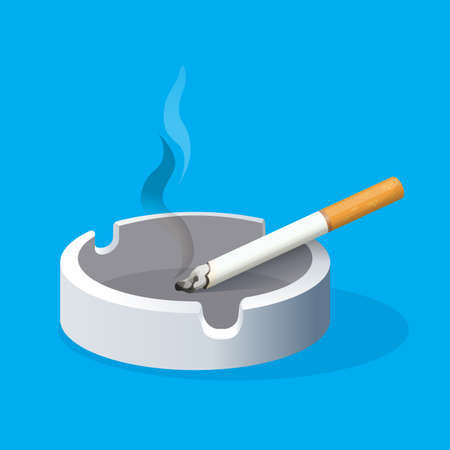 toxic substance: Ashtray with lighted cigarette on blue background. Smoking
