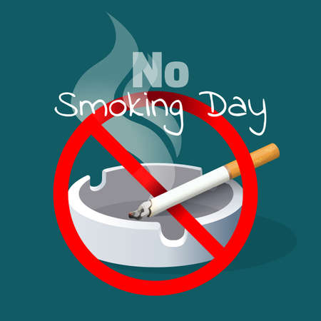 crossed cigarette: No smoking day. Ashtray and cigarette with red alert sign