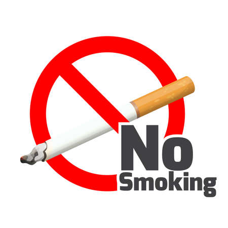 No smoking sign. Red alert symbol cross cigarette on white.