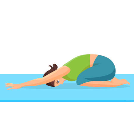 female girl: Female person doing yoga stretch on special blue rug. Curled up girl i