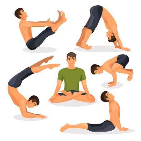 Collection of yoga poses with lotos in centre on white, bakasana position Stock Photo