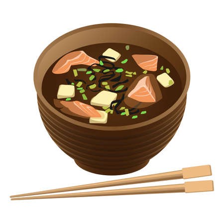 tofu: Japanese traditional food soup with salmon and tofu in bowl Stock Photo