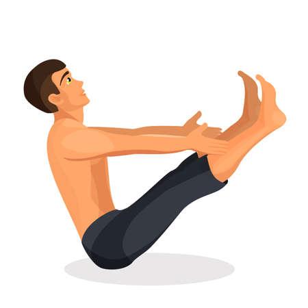 Boy practising yoga navasana pose, holding his hands and legs straight