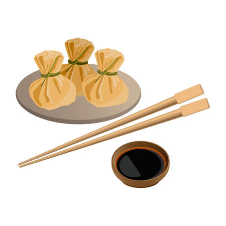 Three wontons on plate and soy sauce with sticks for sushi near.