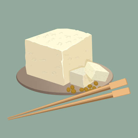 beans: Tofu cheese on plate with chopsticks isolated. Healthy chinese food Stock Photo