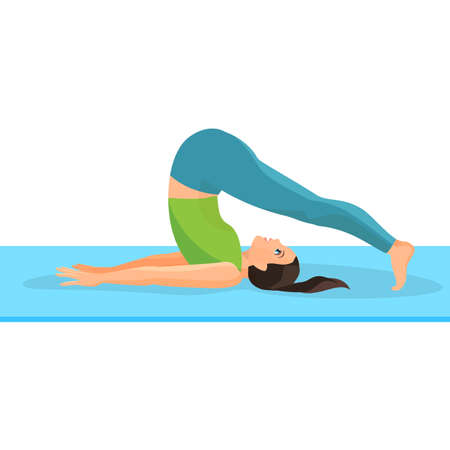strengthen: Yoga asana pose of girl lying on rug and taking her legs above head