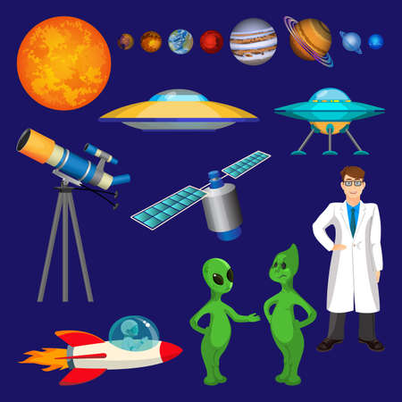 astronomie: Set of planets, scientist in white gown, flying rocket, speaking aliens, telescope, unidentified flying object, or UFO, satellite realistic vector illustration. Astronomy objects in cartoon style Illustration