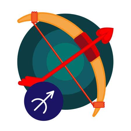 Sagittarius astrology sign isolated on white. Horoscope symbol represented as stars in shape of centaur archers. Zodiac constellations astrological mythology icon vector design illustration Illustration