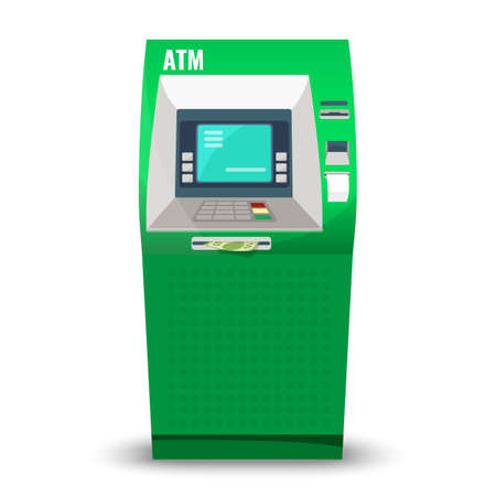 cashpoint: Atm machine isolated on white background. Automatic teller machine, automated banking machine cash machine or cashpoint, cashline minibank, or bankomat electronic telecommunications device vector Illustration