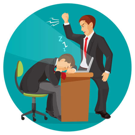 Angry businessman screaming at his worker. Man fall asleep at working place. Student sleeps during lecture, professor tries wake him up. Male resting at table during working day vector illustration