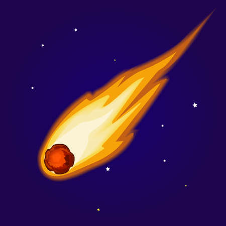 Flying asteroid on background of night sky. Minor planet in inner solar system. Astronomical object, Burning comet with coma and visible tail vector design illustration. Magical meteor on starry sky