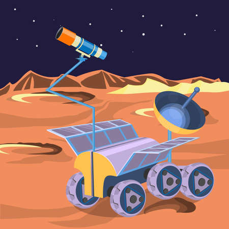 barren: Space ship investigate planet in space. Explore of barren moon on a rover. Expendable spacecraft on moon surface making researchers of craters and stars realistic vector. Can be boarded by astronauts
