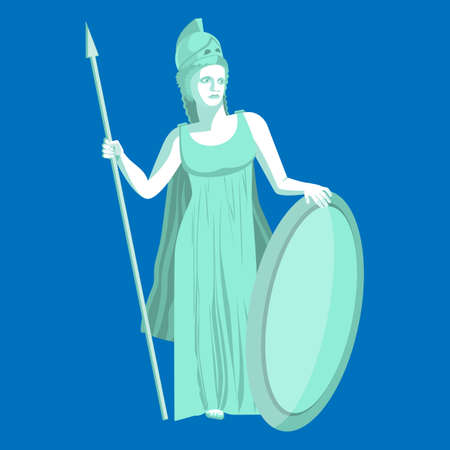 Athena or Athene marble statue on blue background. Pallas goddess of wisdom, craft, and war in ancient Greek religion and mythology. Minerva Roman goddess identified with Athena. Vector illustration Stock Photo