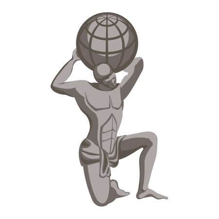 Atlas monument, character in greek mythology. Titan condemned to hold up sky for eternity after Titanomachy. Vector illustration of man holding globe on his shoulders, bronze statue realistic style