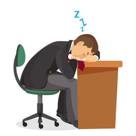 tiredness: Man asleep at desk side view. Male sleeping on table.