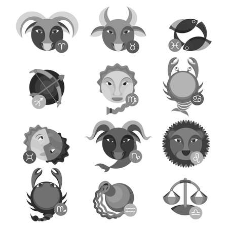tribal aquarius: Set of colorless astrology signs. Fire aries near leo and sagittarius, earth signs are taurus, virgo and capricorn, air gemini, water signs cancer with scorpio and pisces,libra and aquarius vector