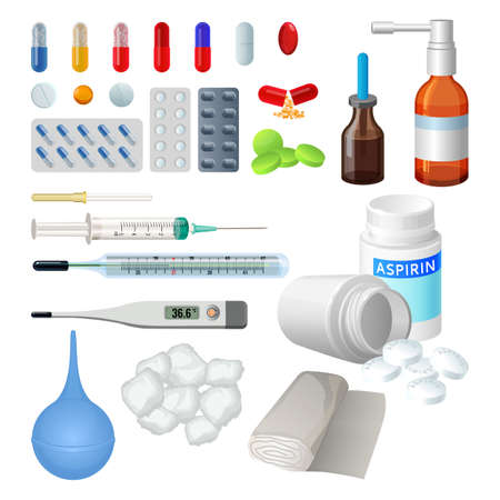blisters: Set of vector medical objects for treatment, pills and capsules. Syringe with needle, electronic thermometer, cotton and bandage. Tablets in blisters painkillers and antibiotics, vitamins and aspirin.