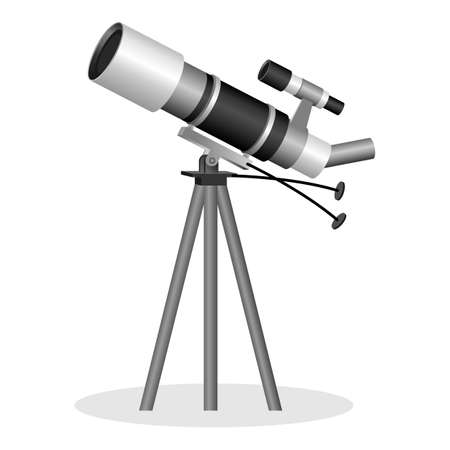 Telescope to observe the stars realistic vector illustration. Optical instrument that aids in observation of remote astronomical objects. Binocular instrument for observation objects in the sky Stock Photo
