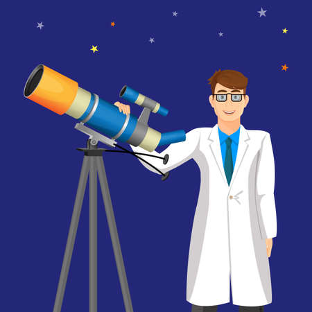 astrophysics: Scientist with telescope on background of cosmic sky. Man in white gown investigate outer space. Astrology education concept. Scientific research with help of magnifier optical device vector Stock Photo