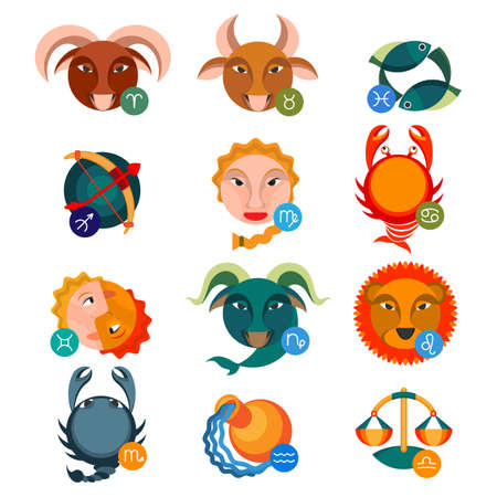 zodiacal symbol: Set of colorful astrology signs. Water signs cancer with scorpio and pisces, fire aries near leo and sagittarius, earth signs are taurus, virgo and capricorn, air gemini, libra and aquarius vector