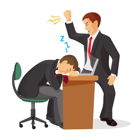 Boss crying at sleeping worker laying on table. Tired manager fall asleep at working place. Angry employer trying to wake up exhausted coworker. Angry chef shouting on dreaming male realistic vector Stock Photo
