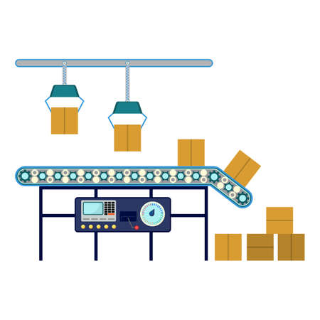 conveyor system: Process of box packaging. Industrial equipment for packaging boxes, machinery line assembly conveyor for carton boxes distribution. Technology used in warehouse industry vector illustration Stock Photo