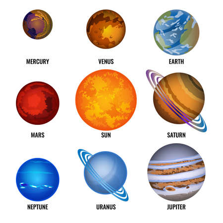 Set of Planets of solar system cartoon vector illustration. Smallest Mercury, rotating Venus, inhabited Earth, Mars and Sun, gas giant Saturn, blue Neptune, ice giant Uranus and largest Jupiter
