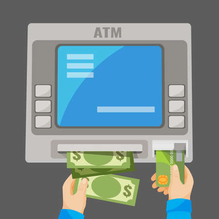 inserting: Hand inserting credit card into grey ATM and withdrawing money