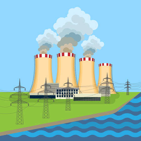 Working nuclear power plant near tower set along flowing river Illustration